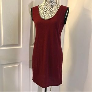 Improvd Dark Maroon Sleeveless Tunic Tank Dress